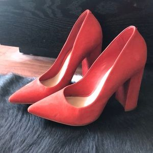Aldo Red Suede Chunky Heel Size 7